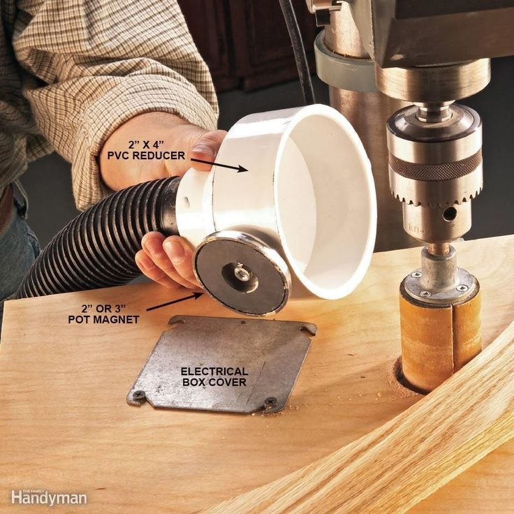 """Vacuum dust and chips right at the source! Bolt a 2-in. pot magnet (available at home centers and hardware stores) to a 4-in. x 2-in. PVC pipe reducer and position it near the sander, saw, router or lathe that's making a dust storm in your shop. A 2-in. shop vacuum hose """"press-fits"""" nicely in the 2-in. reducer end, and the pot magnet ferociously grips any metal surface. If the working surface near the dust source is wood, screw a blank steel electrical box cover to the surface to hold the…"""