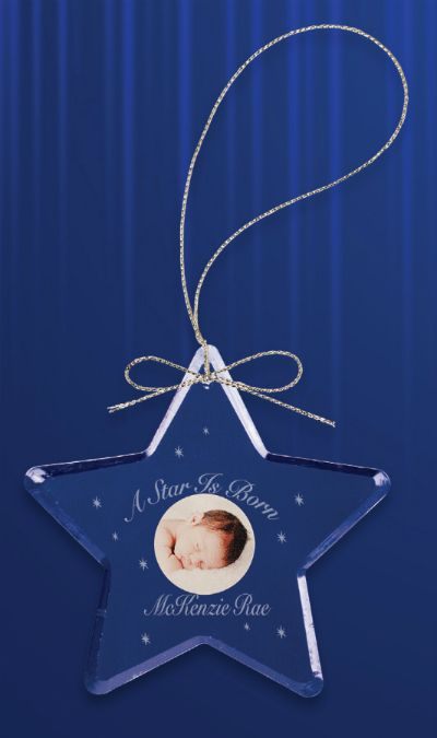 """Cute engraved / etched crystal glass ornament. Great baby's first Christmas gift. """"A Star is Born"""""""