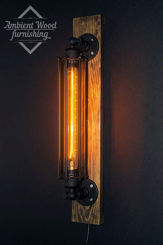 Industrial sconce lamp wood base by AmbientWood on Etsy