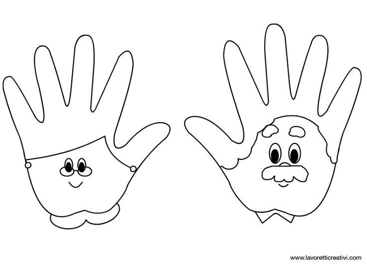 Grootmoeder en/of grootvader maken met de handen van de kleuters