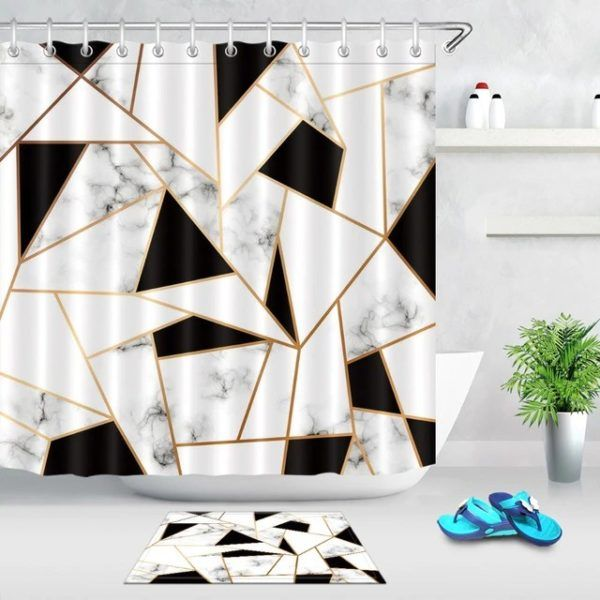 Black And White Shower Curtain Abstract Stripes Geometric In 2020