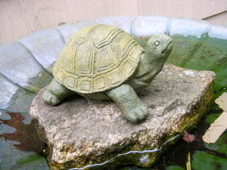 Turtle Statue Stretching Painted Concrete Garden Figure