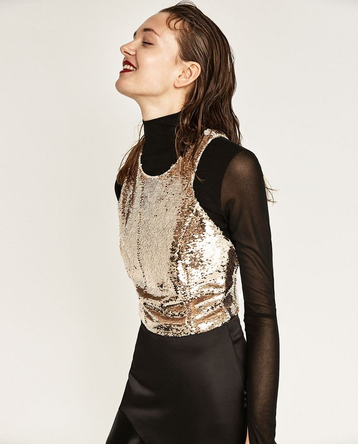 ZARA - WOMAN - TOP WITH SEQUINS size small