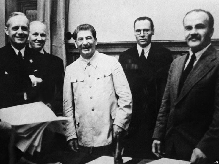 Stalin at signing of non aggression treaty with Germany 1939