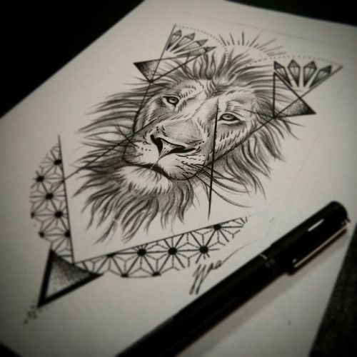 dotwork lion geometric google search tattoo lion