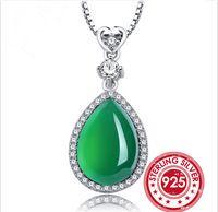 SNH UniqueGreen изумрудное ожерелье Настоящее Стерлингового Серебра 925 Нефрита Ожерелье для Женщин Ювелирные Изделия