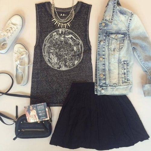 Print t - shirt, black skirt, denim jacket,white converse, golden necklace, black purse.