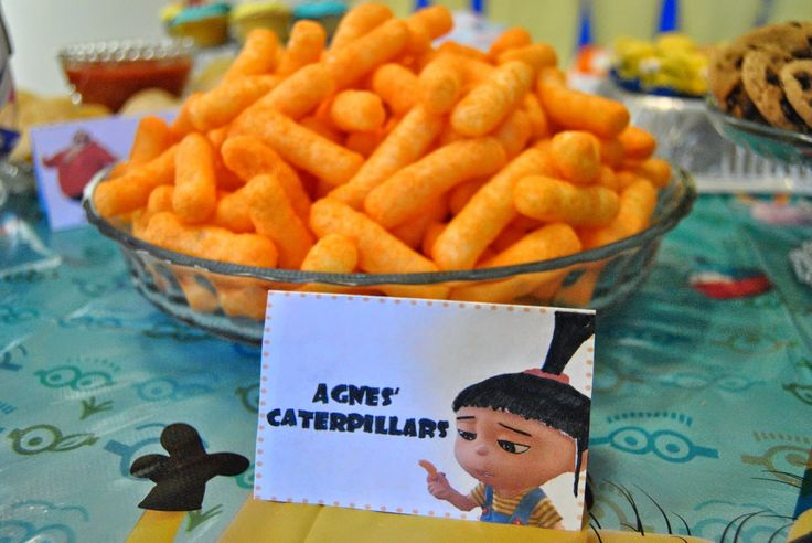Food ideas for a Despicable Me party. Labels available on website