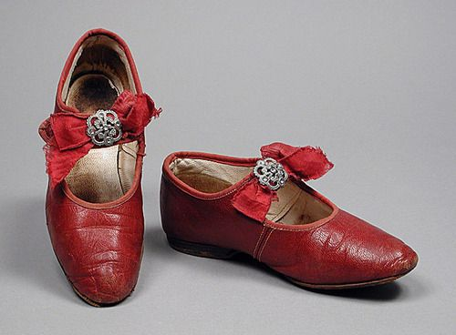 antique red leather girl's shoes ... c. 1900