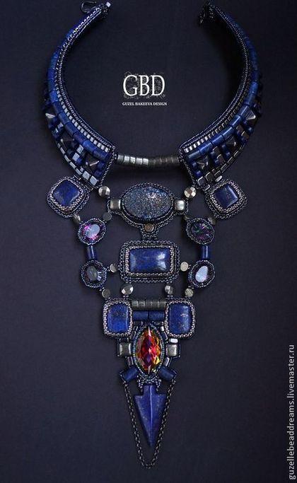 Стильное крупное колье в актуальном темном синем. Колье практически полностью состоит из натуральных камней - лазуриты, титановая друза агата, мистик кварц, яркий swarovski и пирит. Колье в резерве для Татьяны.