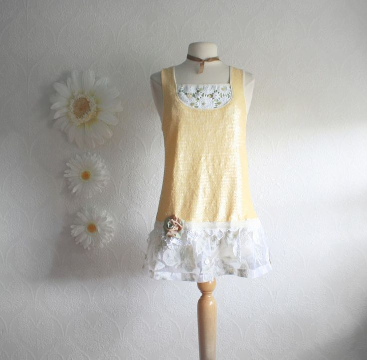 upcycled clothes | Upcycled Clothing Butter Yellow Womens Top Shabby Chic Shirt Vintage ...