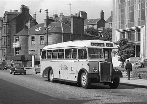 Bus on Perth Road, Dundee; 1960's, bus would have been yellow and white in colour..