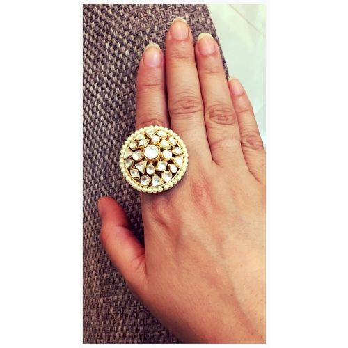 Polki Kundan Ring-Jewellery-Suhana Art And Jewels