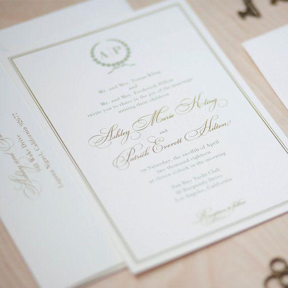 Monogram Wedding Invitation sage and gold invitation olive