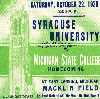 Michigan State football gifts. Ceramic coasters made from authentic vintage game tickets. 1938 Michigan State football.