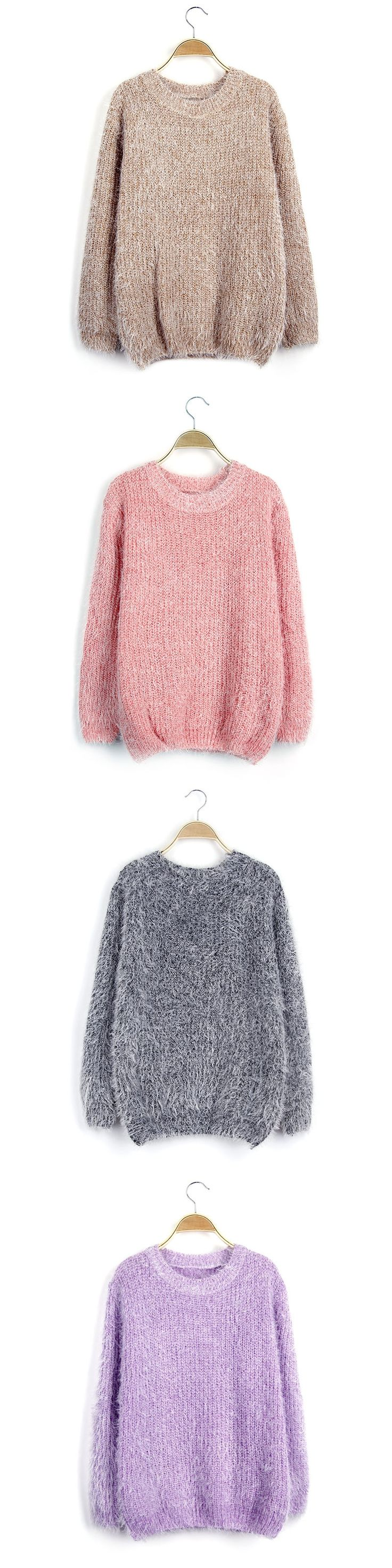 Candy Color Furry 2016 Winter Women Loose Sweater Lady Pull Over Knit Tops mohair for fat noodle Sweaters Round Neck Long Sleeve