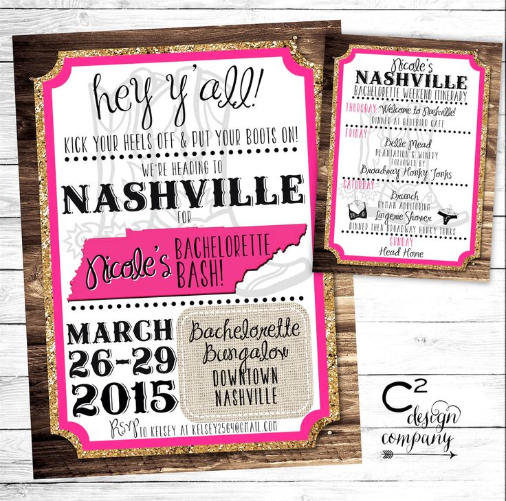 Gold Glitter Nashville Bachelorette Party Invitation with Itinerary by cSquaredDesignCo on Etsy https://www.etsy.com/listing/222998148/gold-glitter-nashville-bachelorette