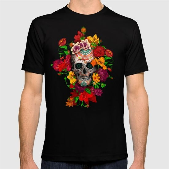 Day of the dead sugar skull flower T-SHIRT #tshirt #tee #clothing #daisy #roses #floral #flower #skull #skeleton #dayofthedead #diasdemuertos #jackskellingtons #halloween #scary #thenight #beforechristmas #animal #bone #tattoo #hippie #hipster #aztec #maya #indian #feather #bird #butterfly #mexico #mexican