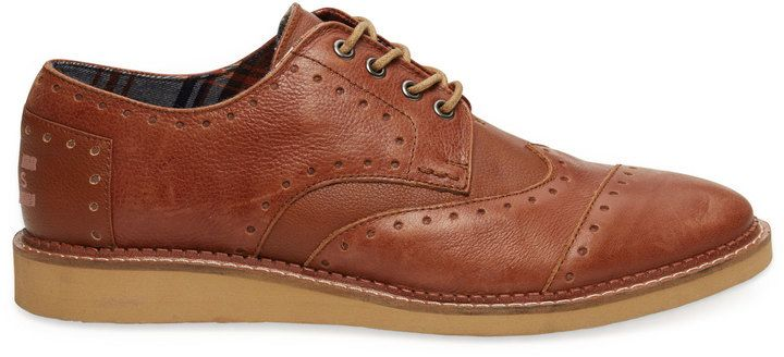 $124, Brown Leather Brogues by Toms. Sold by TOMS Shoes. Click for more info: http://lookastic.com/men/shop_items/143402/redirect