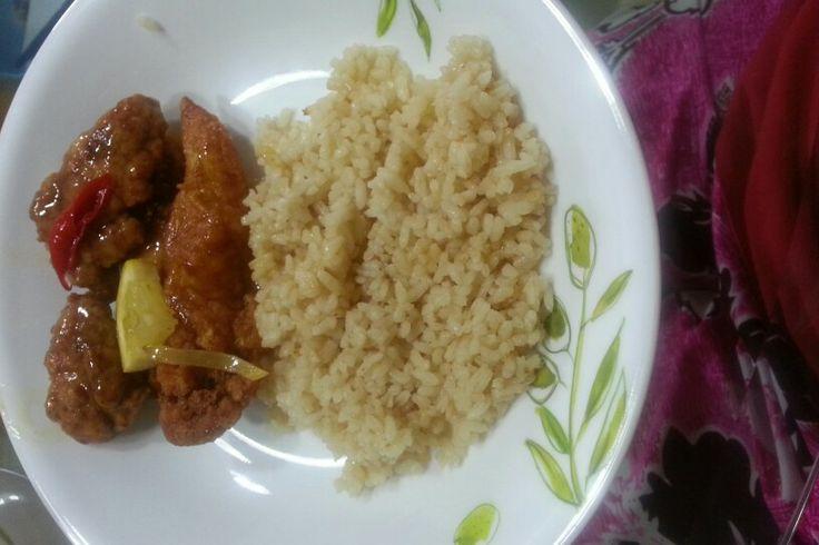 Hainamese Chicken Rice & Chicken with Lemon sauce