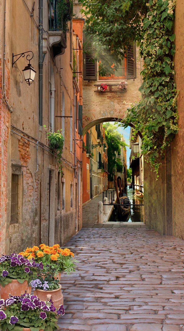 What a gorgeous view of the street just off the canal ~ in Venezia, Italy