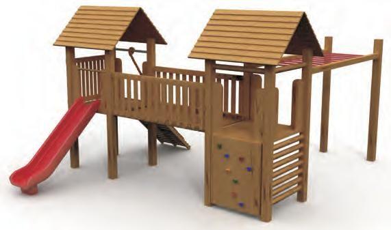 VG5205A - 2 Kuleli Ahsap Oyun Grubu | Ahşap Çocuk Oyun Parkları | Ahşap Oyun Grupları | Çocuk Oyun Parkları | Doapark