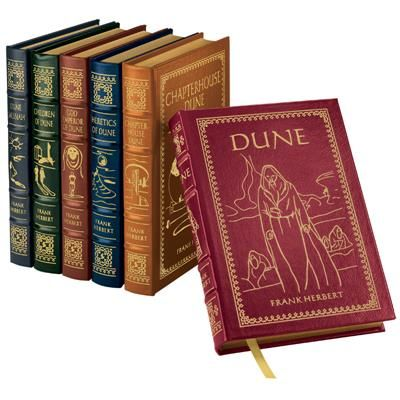 Frank Herbert's riveting Dune series is one of the most brilliant science fiction epics ever written.  Winner of the Hugo and Nebula Awards, Dune is frequently cited as the best-selling science fiction novel of all time.  Now, all six Dune novels by Frank Herbert are available in the exclusive leather-bound edition.  6-volume in one shipment.