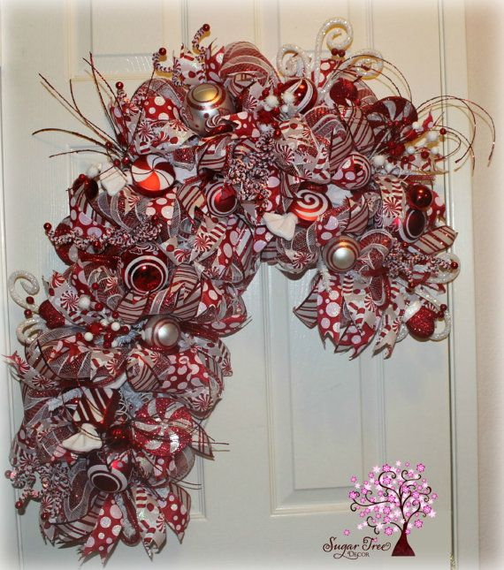 Christmas Deco Mesh Candy Cane Wreath By SugarTreeDecor