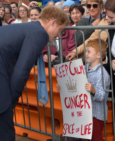 Prince Harry meets Riley Harris, 6, during a walkabout in Christchurch