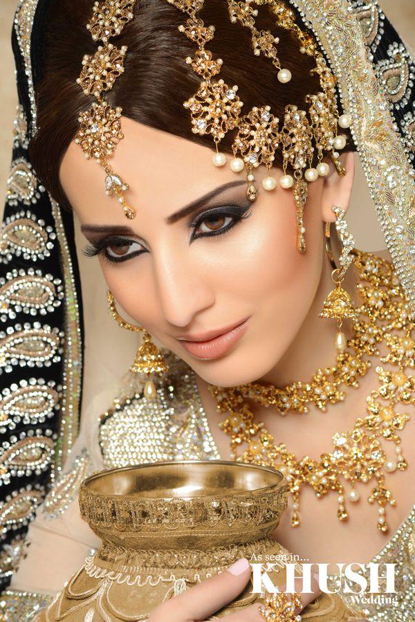 We love this regal bridal makeup look by Maysa Mua  +44(0)7584 423 525 www.maysa.co.uk asmah@maysa.co.uk   Outfit:Chaand Bazaar Jewellery:Mumtaz Collection by Design Props: 1SW Events - Weddings Mehndis Mandaps Flowers Wedding Planners.