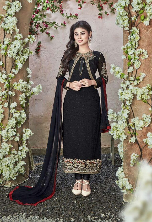 Machine Embroidered Charismatic Black Suit With Dupatta In Pure Georgette