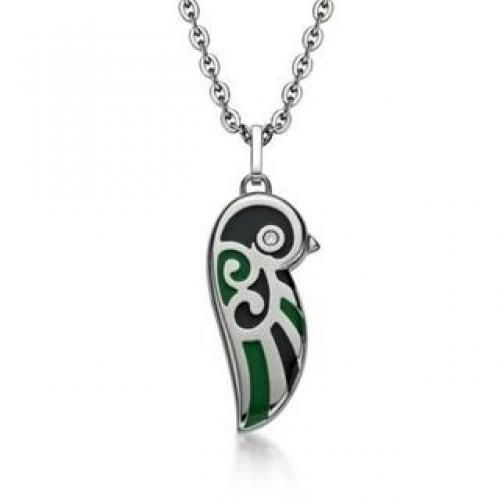 Black and Green Enamel Lovebird Necklace (Small) Green- One Size