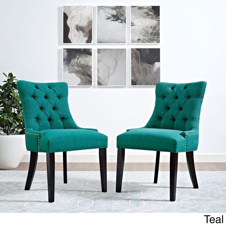Modway Regent Button Tufted Fabric Dining Chair Single Chair Teal Beige