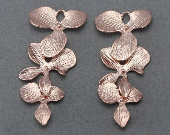 Cascading Orchid Br Connector Jewelry Craft Supply Matte Rose Gold Plated Over