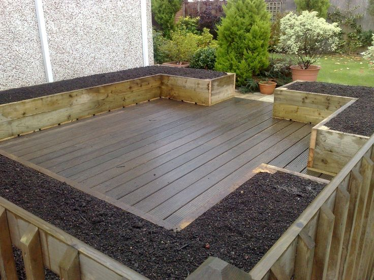 Garden And Patio, Deck And Patio With Hardwood Floor Tiles And Soil Mix For  Raised