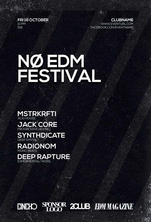 Free No EDM Festival Flyer Template