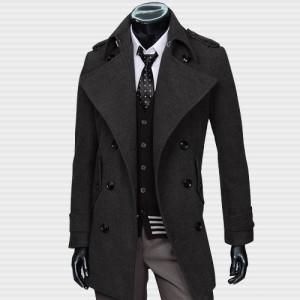 Classic Men Double Breasted Wool Trench Coat $70