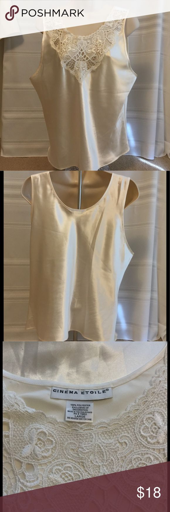 """Cinema Etoile Satin Camii Sz L Cinema Etoile Cami with delicate lace Sz L. 100% polyester with feel of Satin. Bust measures 19"""", Length is 25"""". Excellent condition. BN65 Cinema Etoile^ Intimates & Sleepwear Chemises & Slips"""