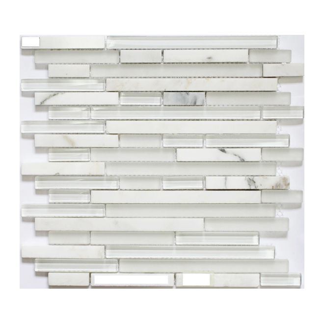 Bravo glass and stone back splash in soft white with grey undertones. $15.99 a sheet or sold by the box.
