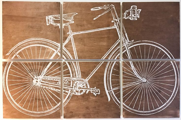 24x36 vintage bicycle screen printed with brown wood stain by CreationsSauvages on Etsy