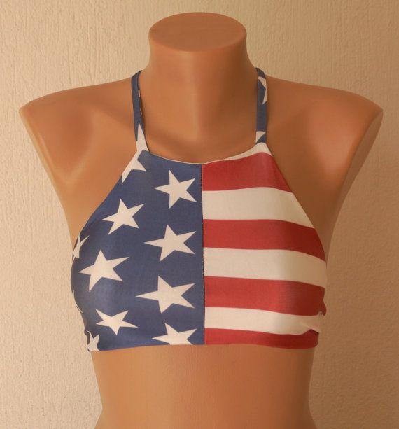 BS1123 PADDED American flag high neck halter bikini top-Swimwear-Swimsuit-Bathing suit-Bikini-Yoga top-Flag bikini-4th July-XS-S-M-L-XL !!