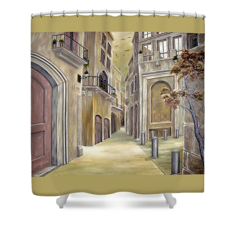Shower Curtain,  bathroom,accessories,unique,fancy,cool,trendy,artistic,awesome,beautiful,modern,home,decor,design,for,sale,unusual,items,products,ideas,green,grey,town,old,buildings