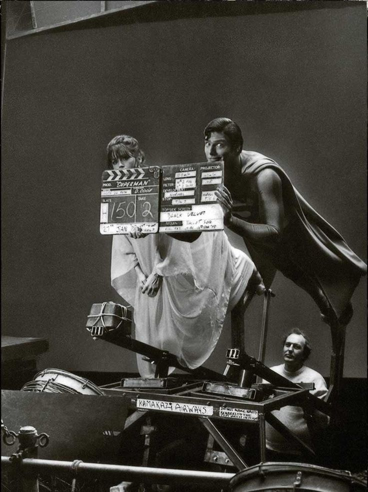 Margot Kidder and Christopher Reeve on the set of Superman – The Movie, 1978, directed by Richard Donner.