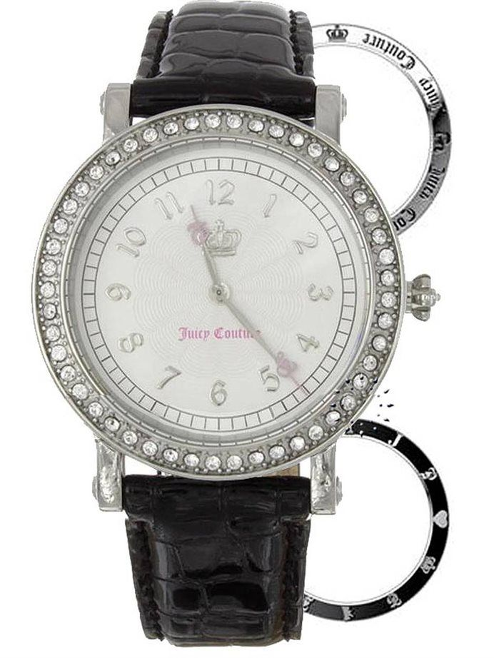 Όμορφο ρολόι από τη Juicy COUTURE, με κάσα στολισμένη με λευκά Swarovski και 2 επιπλέον στεφάνια για να αλλάζετε!
