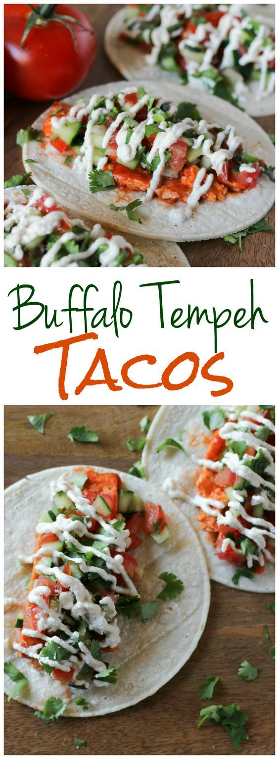 Spicy buffalo tempeh tacos with a cool vegan lime crema and fresh salsa (gluten-free, too) l www.stephinthyme.com