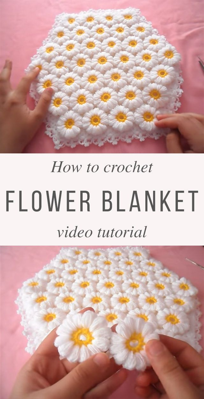 Learn Making A Lovely Flowers Blanket Crochet