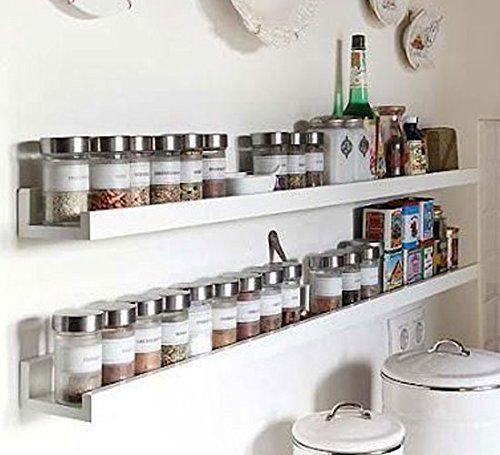 Wall mount spice rack floating shelf wood white 46 inch long fasthomegoods - Wall mounted spice racks for kitchen ...
