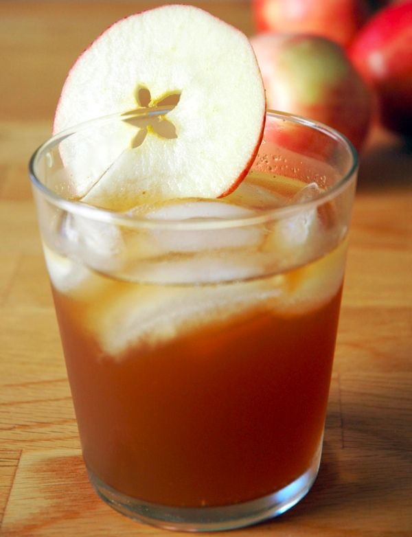 Ginger Apple Bourbon-  Ingredients: 2 ounces Apple Cider, 2 ounces Ginger Ale, 1 shot good Kentucky Bourbon (approx 1 ounce), 1 apple slice for garnish.  Directions: Combine apple cider and ginger ale in a glass with ice. Add Bourbon; Stir, garnish with the apple and enjoy!
