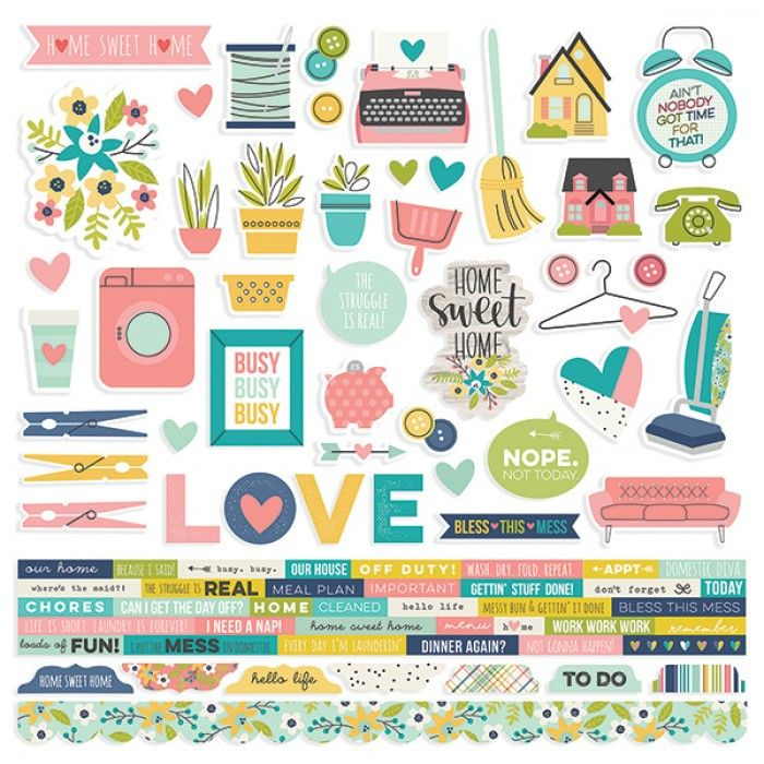"""Simple Stories - Domestic Bliss - 12x12"""" Combo Stickers"""
