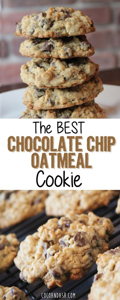 These chocolate chip oatmeal cookies are THE BEST chocolate chip cookes you will ever eat! So soft and chewy! #chocolatechip #cookies